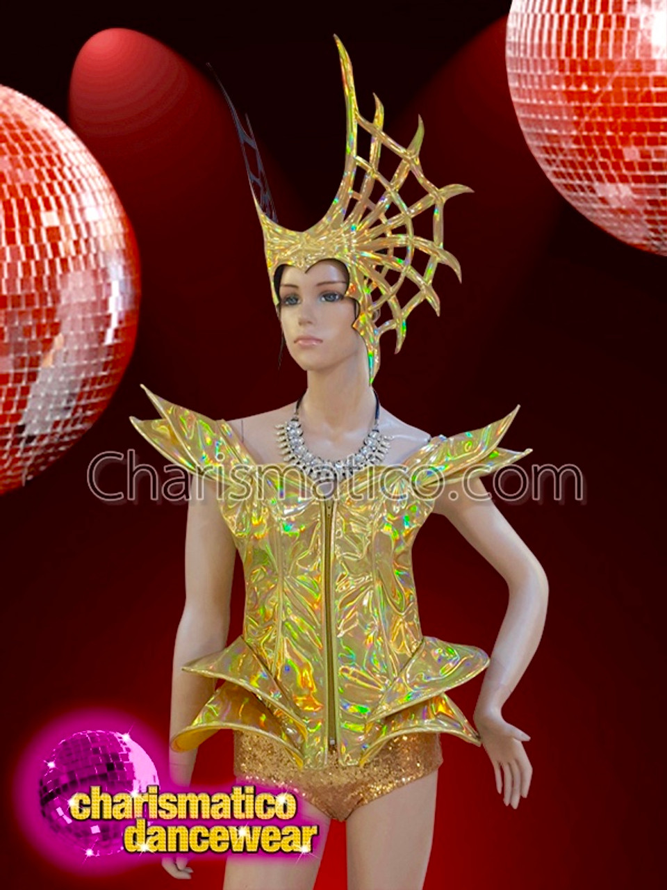 CHARISMATICO Girl/'s Retro Golden glitter Bouffant Headdress With Big Red Bow