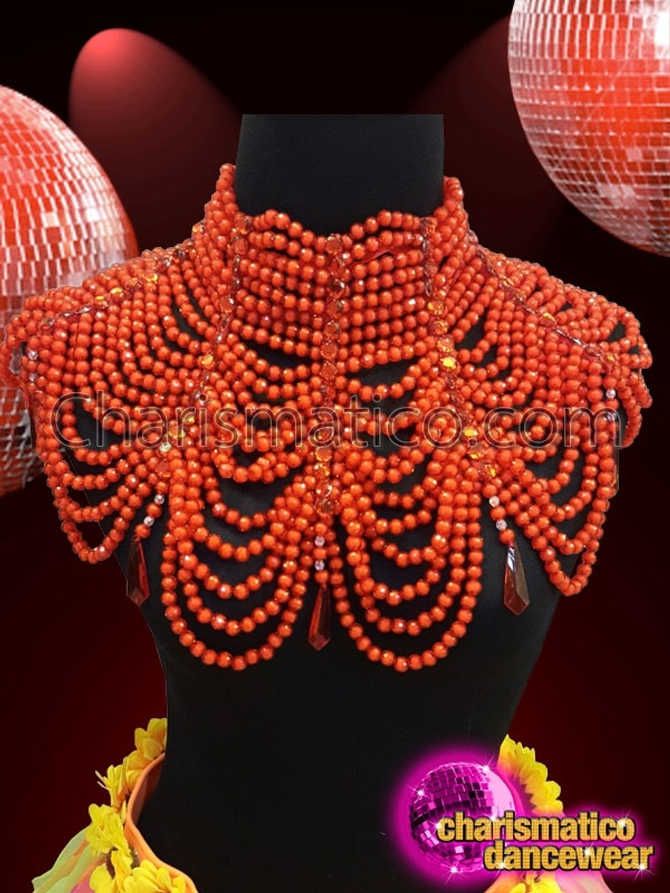 dadabb25f3108 CHARISMATICO Red Multiple Chain Diva High Collar Necklace With Diamonds