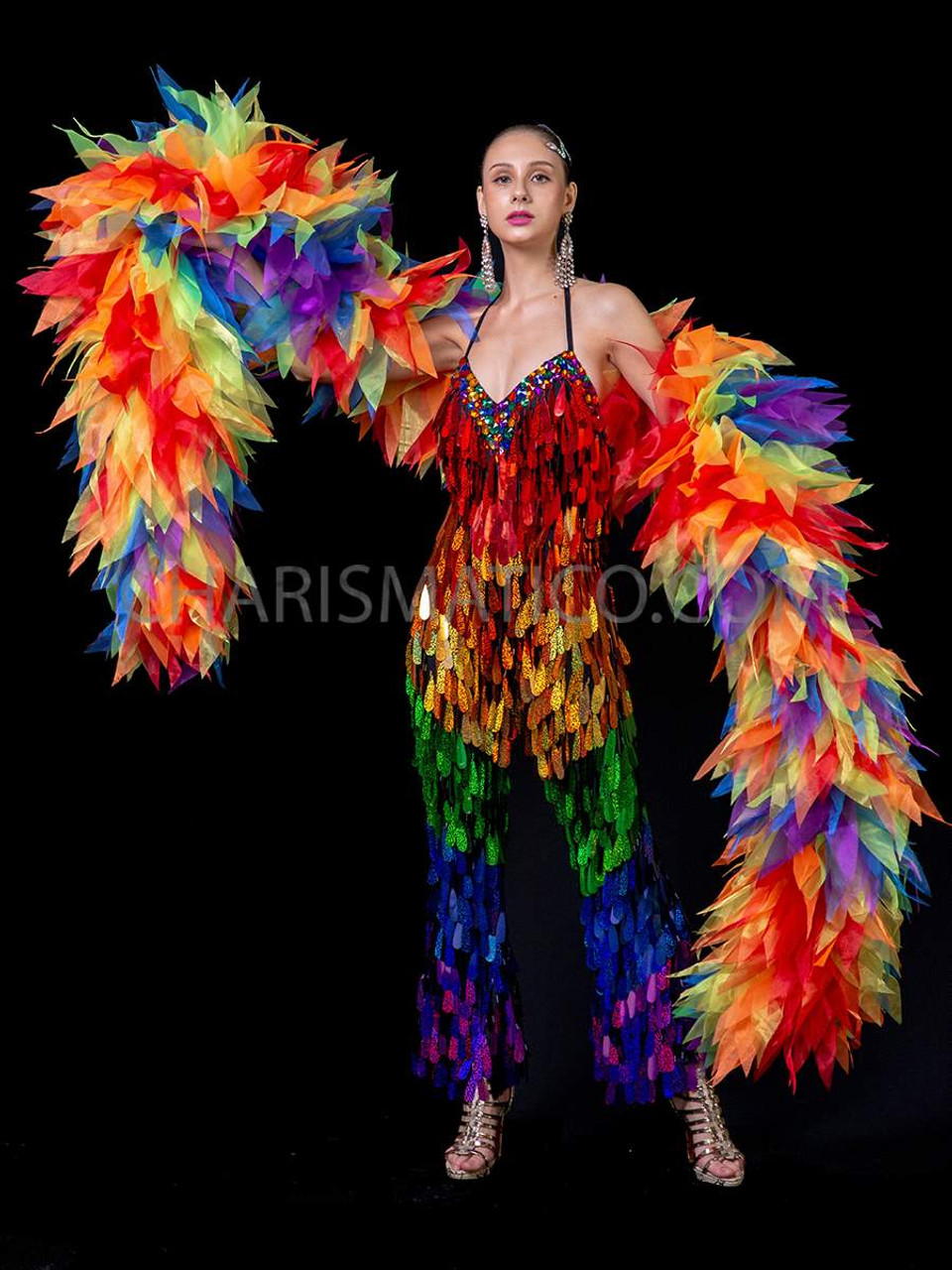 Rainbow Boa Ruffled Halloween Costume Pride Accessory