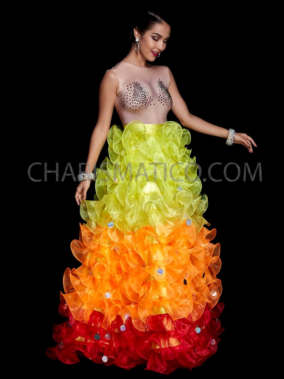 CHARISMATICO GOLD JUMBO RUFFLE drag Queen SPECTACULAR DIVA SISSY Organza BOA