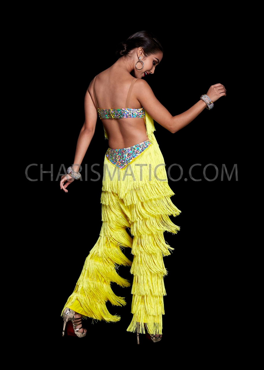 CHARISMATICO Black spandex hip pants and top with neon orange and yellow ruffles
