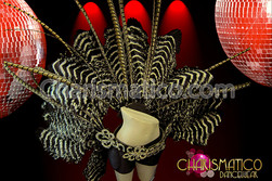 Swirled Crystal Cabaret Style Natural Ostrich And Pheasant Showgirl'S Belt