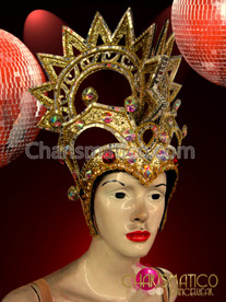 Gold Diva Drag Queen Headdress with Iridescent Crystals and Rubies
