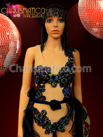 Black Sequined Applique Leotard With Flame Tasseled Tail Skirt Set