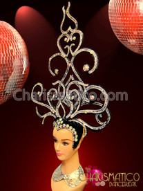Black And Silver Showgirl'S Swirled Headdress With Mirror And Crystals