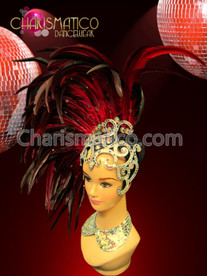 Asymmetrical Black and Red Feathered Headdress with Openwork Mirrored Cap