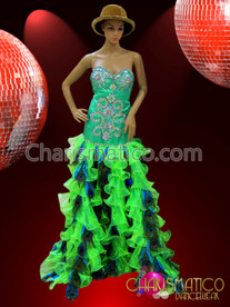 Green Crystal Detailed Pageant Gown With Organza Neon Green Ruffles
