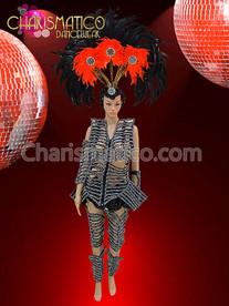 Futuristic Black Rhinestone Skeleton Costume With Leg And Arm Guards