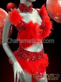 Showgirl Devilish Red Feather Bra And Belt Set With Lace Appliques