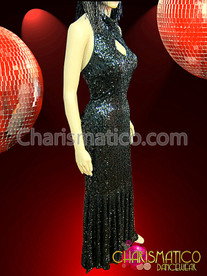 Black Figure Flattering Mock-turtleneck Sweetheart Keyhole Sequin Pageant Gown