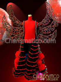 Red and Black Gothic Wings backpack with Attached Organza Ruffled Skirt