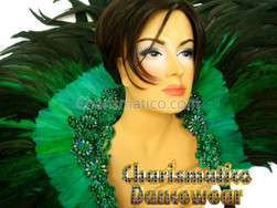 Emerald Cabaret Feather Showgirl Backpack