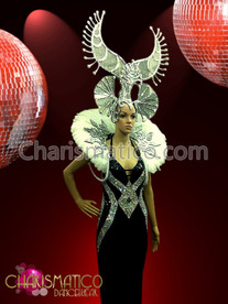 CHARISMATICO Exotic Beaded Illusion Gown With Matching Silver Horn Headdress And Backpack