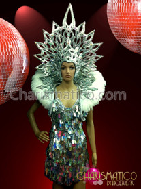 CHARISMATICO Iridescent silver and white sequined dress, halo headdress, and backpack
