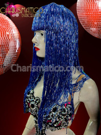 CHARISMATICO Classic Cher Inspired Royal Blue Iridescent Seed Beaded Long Wig
