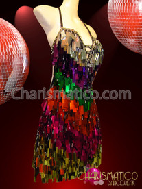 CHARISMATICO Lovely Latin-Inspired Tag-Tasseled Iridescent Sequin Rainbow Gay Pride Dance Dress