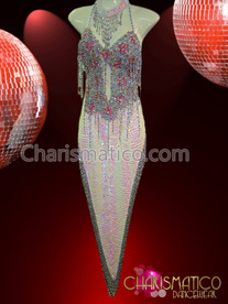 CHARISMATICO Stunning Flashy White And Silver Sequin Fringe Rumba Dance Dress