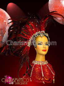 CHARISMATICO Rhinestone And Mirror Accented Exotic Asymmetrical Red Feather Cabaret Headdress