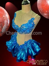 "CHARISMATICO Illusion €Œtwo Piece"" All Sky Blue Shimmer Ruffle Dance Dress"