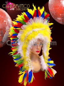 CHARISMATICO Eye-catching Brightly colored rainbow native warrior chieftain Indian Feather Headdress