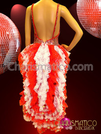CHARISMATICO Red and white sequined burlesque leotard with matching lace tail-skirt