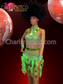 CHARISMATICO Multiple-Piece Neon Green Sequin Top And Flame Ruffled Skirt Dress