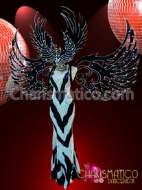 CHARISMATICO Drag Queen Cutout Zebra-Print Pageant Gown With Headdress And Wings