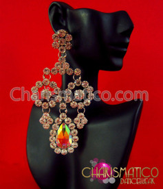 CHARISMATICO Single Iridescent Crystal And Rhinestone Drop Divas Dangle Crystal Earrings