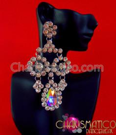 CHARISMATICO Single Iridescent Crystal And Rhinestone Drop Divas Dangle Crystal Earrings
