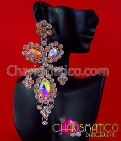 CHARISMATICO Triple iridescent crystal and rhinestone drop showgirl's dangle crystal earrings