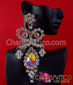 CHARISMATICO Large Diva'S Iridescent Swarovski Crystal And Rhinestone Trim Drop Earrings