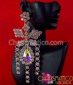CHARISMATICO Large iridescent Swarovski crystal bow style earrings with rhinestone edging