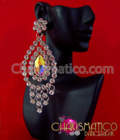 CHARISMATICO Large Iridescent Swarovski Crystal Chandelier Drop Earrings With Rhinestone Edging