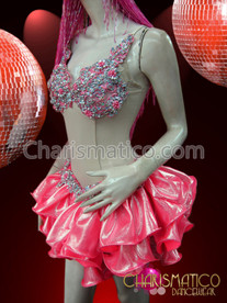 CHARISMATICO Showgirl'S 'Two-Piece' Illusion Sweet Pink And Silver Ruffle Dance Dress