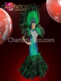 CHARISMATICO Iridescent drag queen pageant gown with matching headdress and backpack