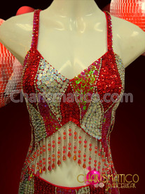 CHARISMATICO Two Piece Triple Toned Patchwork Red Sequined Diva'S Showgirl Dress