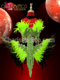 CHARISMATICO Exotic Two Piece Neon Green Feather Beaded Phoenix Carnival Dress