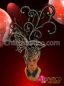 CHARISMATICO Glittery Black And Silver Mirror Tiled Diva Showgirl'S Butterfly Headdress