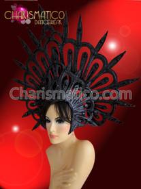 CHARISMATICO Evil halo styled glitter covered black spiky Gothic diva's headdress