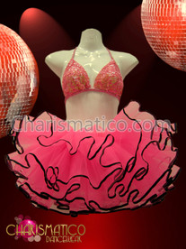 CHARISMATICO Iridescent Pink Sequin Bikini Top With Matching Black Trimmed Tutu