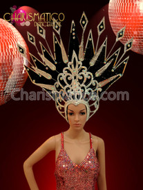 CHARISMATICO Large Black and silver crystal accented spiky diva showgirl's headdress