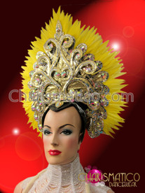 CHARISMATICO Royal Diva'S Yellow Feather Accented Gold And Crystal Queen Headdress