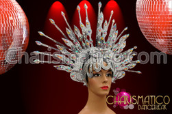CHARISMATICO Silver Glitter Halo-Styled Spiked Headdress With Iridescent Crystals And Mirrors