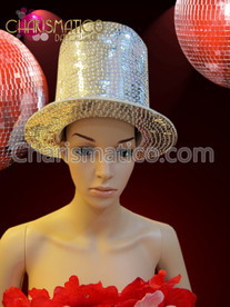 CHARISMATICO Silver iridescent sequin covered Diva magician's stove pipe top hat