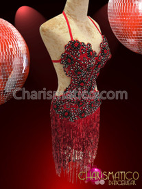 CHARISMATICO Asymmetrical Cutout Red and Black Sequin Fringe Diva's Salsa Dress