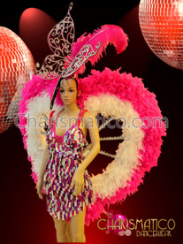 CHARISMATICO Feathered Hot Pink, White And Silver Cabaret Showgirl Costume Set