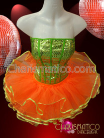 CHARISMATICO Sequined Green Corset and Orange yellow Trimmed Ballet Diva's Tutu