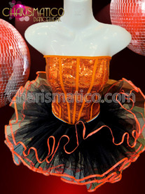 CHARISMATICO Sequined Orange Corset and Black Orange Trimmed Ballet Diva's Tutu