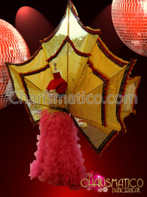CHARISMATICO Huge Metallic Golden Yellow Cabaret Fan Backpack With Red Trim