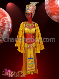 CHARISMATICO Three Piece Golden Pleated Egyptian Styled Diva Drag Queen Costume